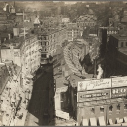 b. Overview of Brattle St., c. 1920. Boston Public Library, Print Department.